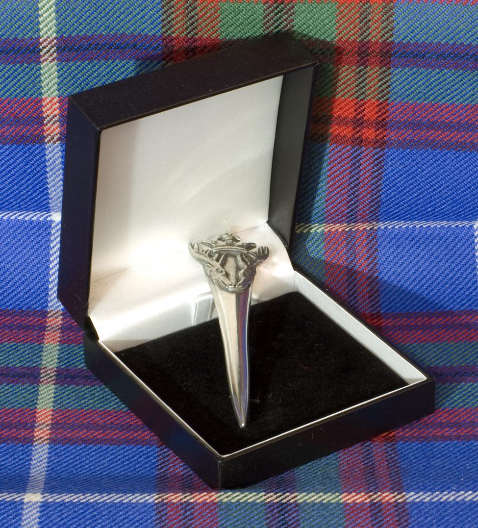 KILT PIN SOLID POLISHED PEWTER STAG ANTLER DESIGN MADE IN SCOTLAND FOR KILTWEAR